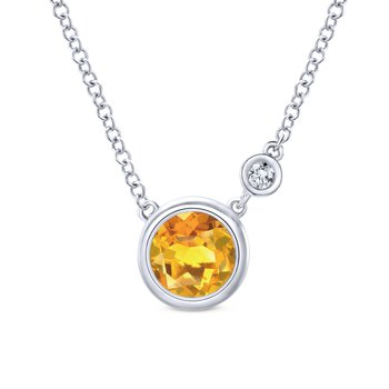 925 Sterling Silver Bezel Set Citrine and Diamond Necklace