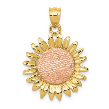 14k Two-tone Polished Sunflower Pendant