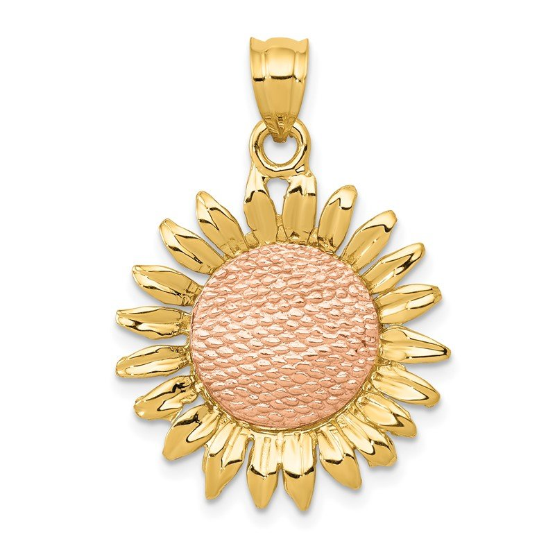 Quality Gold 14k Two-tone Polished Sunflower Pendant