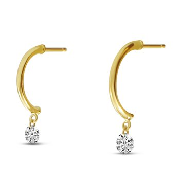 14K Yellow Gold 0.20 Half Huggie Diamond Earrings
