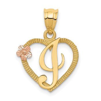 14k Two-Tone Heart Letter I Initial Pendant