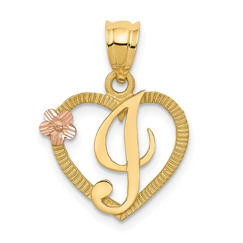 Quality Gold 14k Two-Tone Heart Letter I Initial Pendant