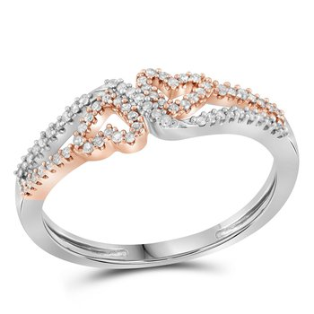 10kt White Gold Womens Round Diamond 2-tone Heart Love Ring 1/5 Cttw