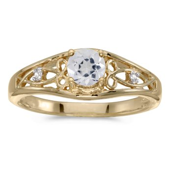 10k Yellow Gold Round White Topaz And Diamond Ring