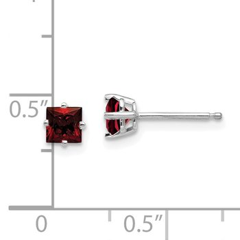 14k White Gold 4mm Princess Cut Garnet Earrings