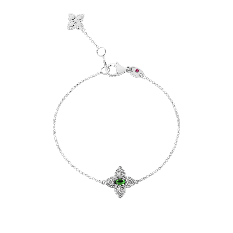 Roberto Coin 18K Diamond & Tsavorite Single Flower Bracelet