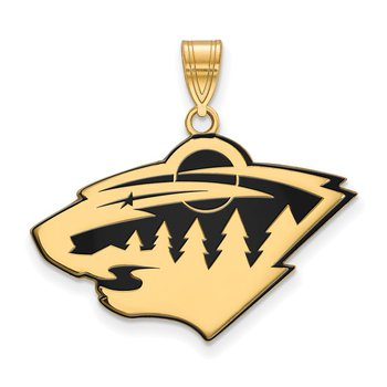 Gold-Plated Sterling Silver Minnesota Wild NHL Pendant