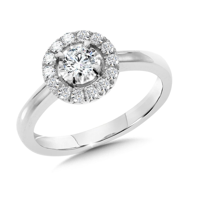 Solitaire Diamond Star Halo Engagement Ring