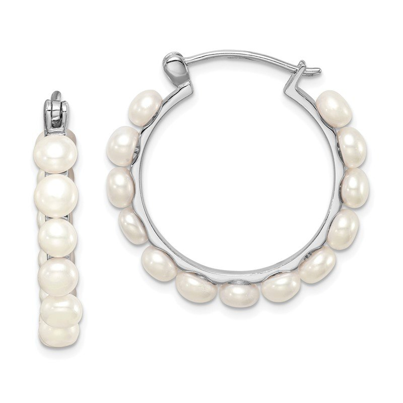 Quality Gold Sterling Silver Rhodium-plated 4-5mm White FWC Pearl Hoops