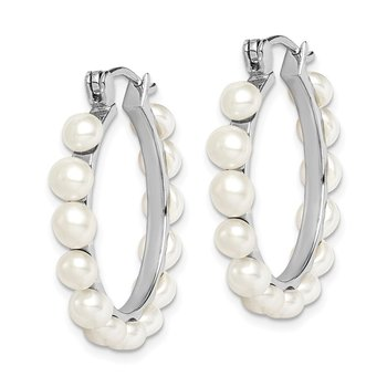 Sterling Silver Rhodium-plated 4-5mm White FWC Pearl Hoops