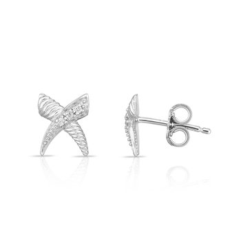 Sterling Silver Diamond Italian Cable 'X' Studs