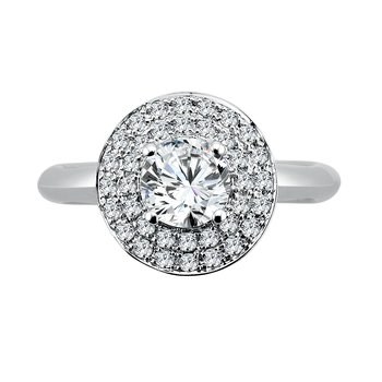 Round Double Halo Engagement Ring in 14K White Gold (3/4ct. tw.)