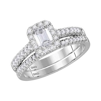 14kt White Gold Womens Emerald Diamond Bridal Wedding Engagement Ring Band Set 1.00 Cttw