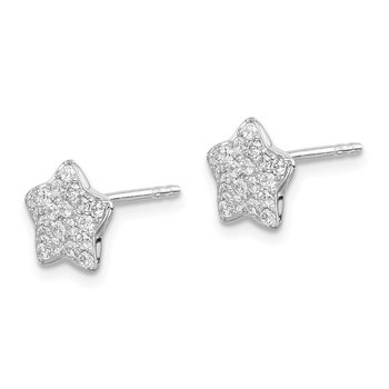 Sterling Silver Rhodium-plated CZ Star Post Earrings