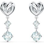 Swarovski Lifelong Heart Pierced Earrings, White, Rhodium plated