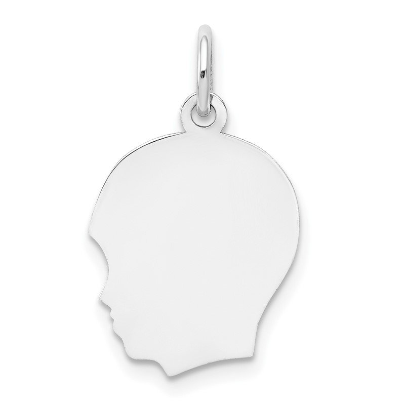Quality Gold 14k White Plain Medium.009 Depth Facing Left Engravable Boy Charm