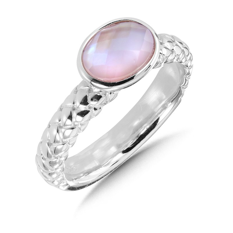 Sterling Silver Dyed Rose Mother of Pearl Fusion Stacking Ring