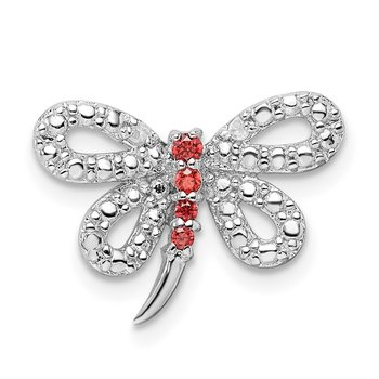 Sterling Silver Rhodium-plated CZ Dragonfly Chain Slide