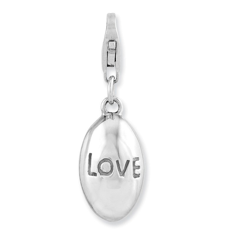 Quality Gold Sterling Silver Rhodium-plated 3-D Love w/Lobster Clasp Charm