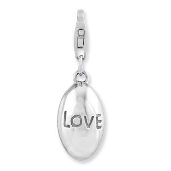 Sterling Silver Rhodium-plated 3-D Love w/Lobster Clasp Charm