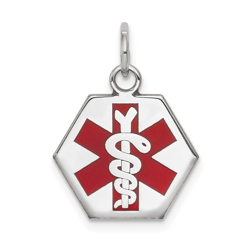 Quality Gold 14k White Gold Red Enamel Medical Jewelry Pendant