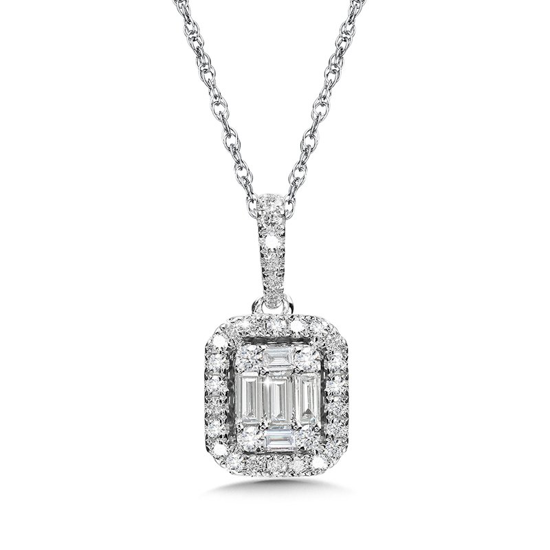 SDC Creations Plumb Collection Baguette and Diamond Accented Pendant