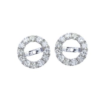 14K White Gold Round Diamond Earring Jackets
