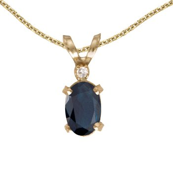 14k Yellow Gold Oval Sapphire And Diamond Filagree Pendant