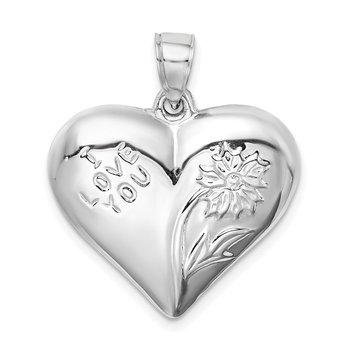 Sterling Silver Rhodium-plated Polished Floral Puffed Heart Pendant