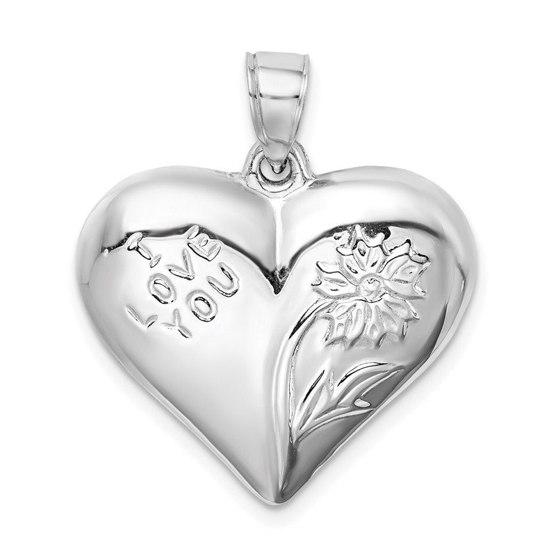 Quality Gold Sterling Silver Rhodium-plated Polished Floral Puffed Heart Pendant