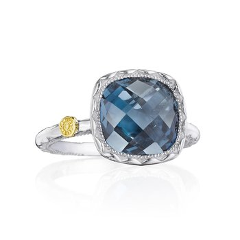 Cushion Gem Ring with London Blue Topaz