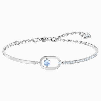 Sparkling Dance Bracelet, Blue, Rhodium plated