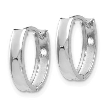10k White Gold Polished Hinged Hoop Earrings