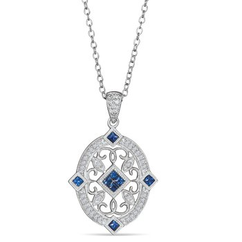 Sterling Sliver vintage style pendant with diamonds (0.12ct) and sapphires (0.30ct)