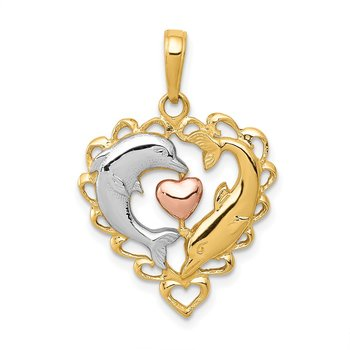 14K Two-Tone w/White Rhodium Dolphins In Heart Pendant