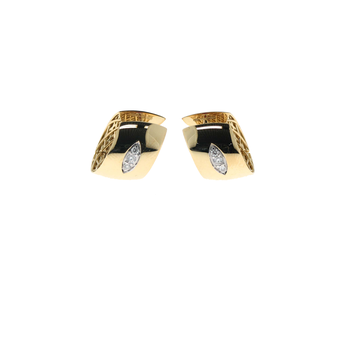 18Kt Gold Huggie Earring With Diamond Accent