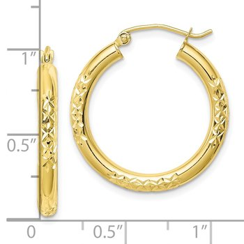10K Diamond Cut 3x25mm Hollow Tube Hoop Earrings