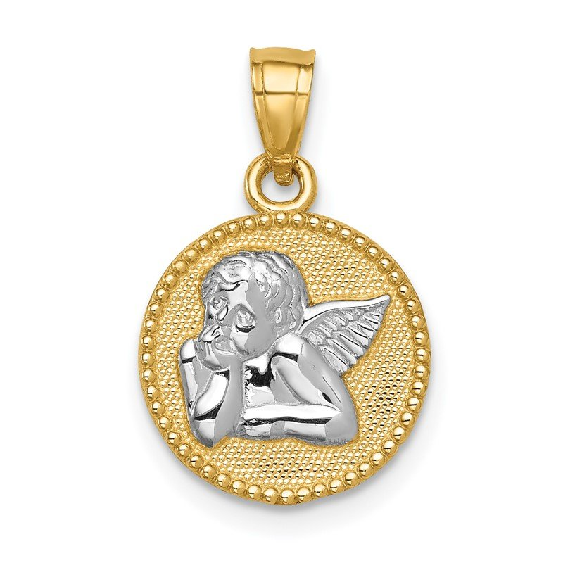Quality Gold 14K w/Rhodium Angel Pendant