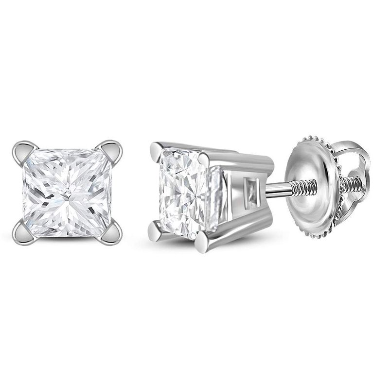 Kingdom Treasures 14kt White Gold Unisex Princess Diamond Solitaire Stud Earrings 1/2 Cttw