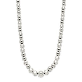 Sterling Silver Polished Beaded Necklace
