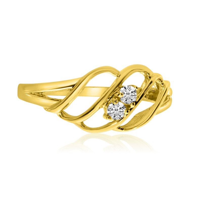 Color Merchants 14K Yellow Gold Woven Two-Stone Diamond Ring