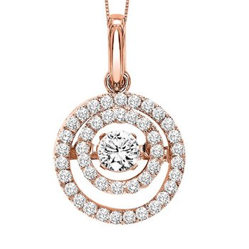14KP Diamond Rhythm Of Love Pendant 3/8 ctw
