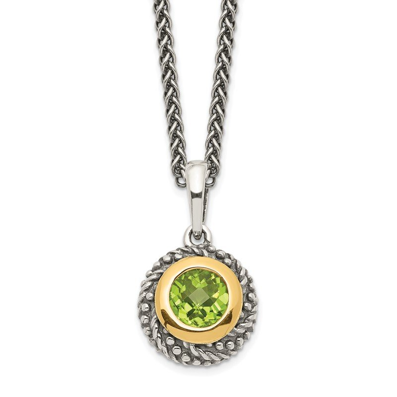 Quality Gold Sterling Silver w/14k Peridot Necklace