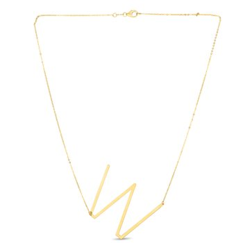 14K Gold Large Initial W Necklace
