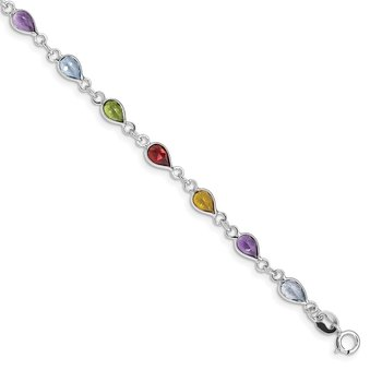 Sterling Silver Rhodium Plated Rainbow Gemstone Bracelet
