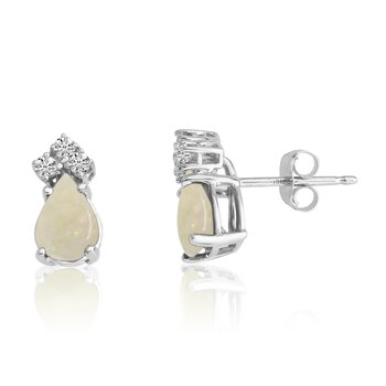 14k White Gold 7X5 Pear Opal and Diamond Earrings