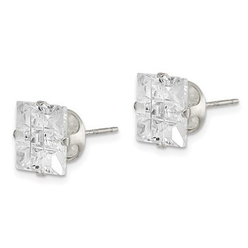 Sterling Silver 9mm Square Snap Set Laser-cut CZ Stud Earrings