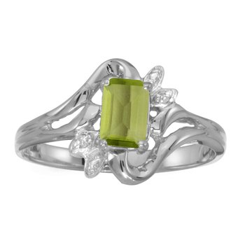 10k White Gold Emerald-cut Peridot And Diamond Ring