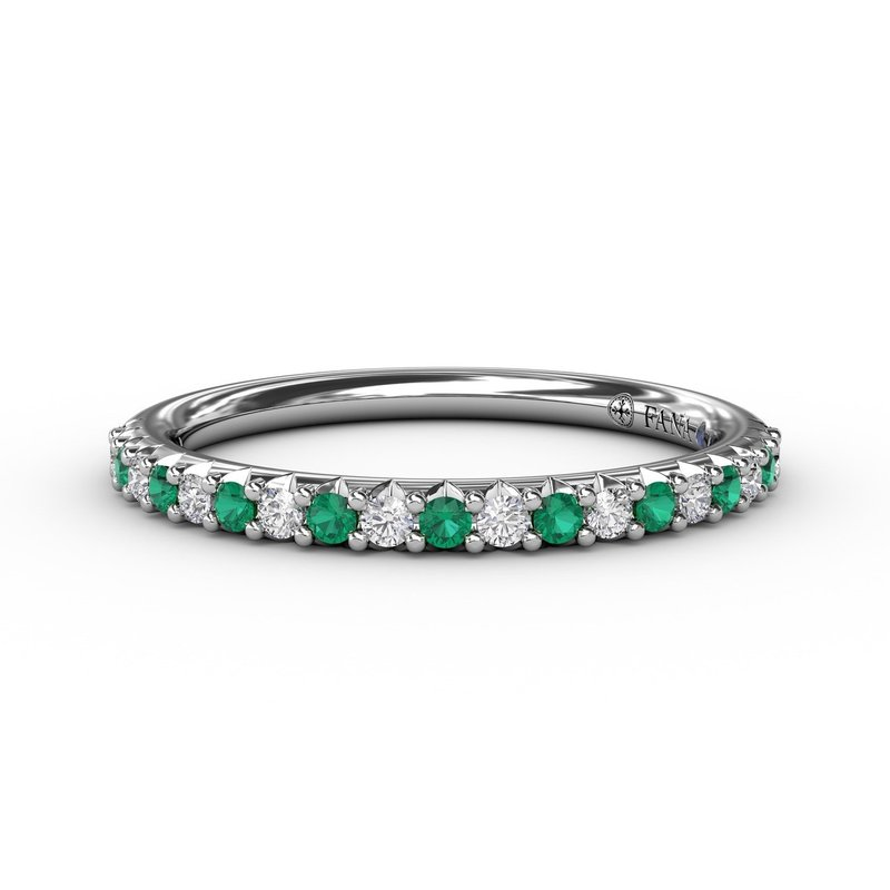 Fana Delicate Emerald Shared Prong Anniversary Band