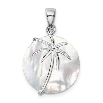 Sterling Silver Rhodium-plated MOP Palm Tree Round Pendant